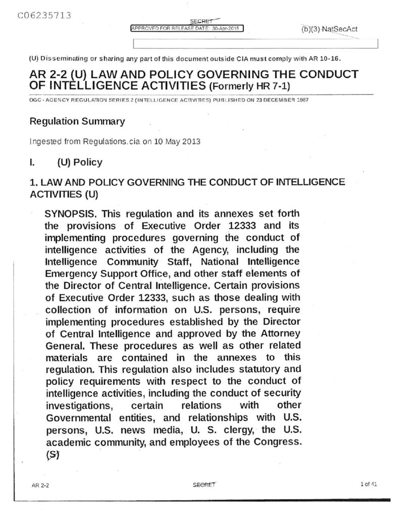 C06235713 AR 2 2 Law and Policy Governing the Conduct of Intel